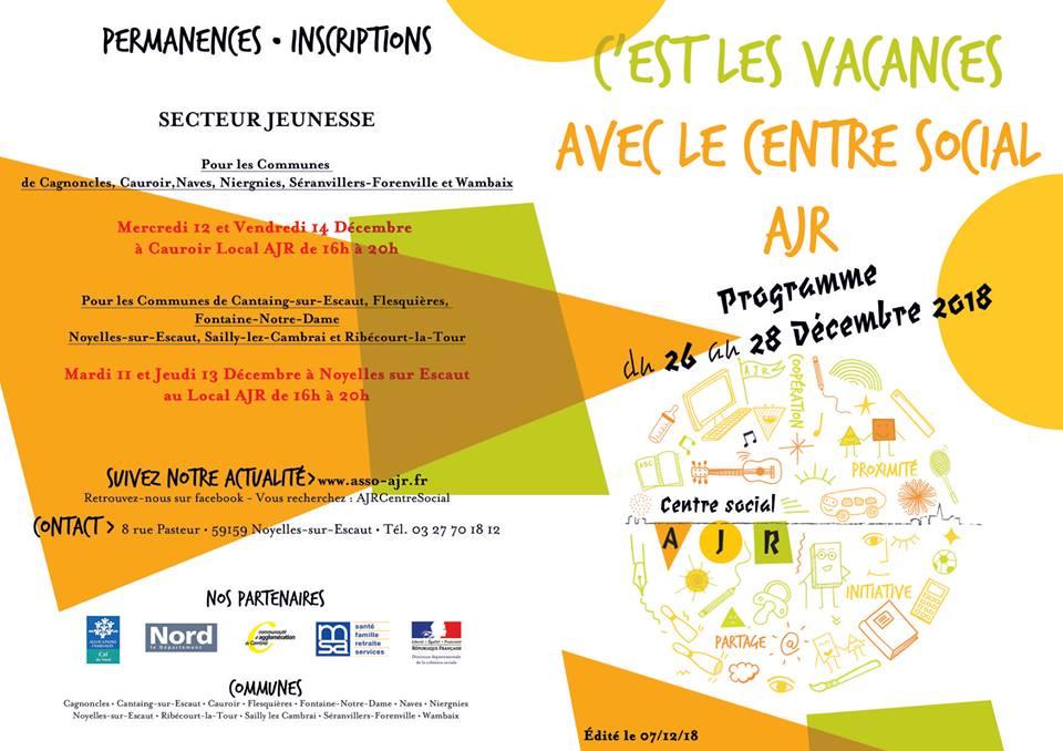 Programme vacances noel secteur jeunesse
